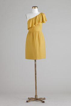 Jenny Yoo's Social Collection - Lulu Silk Rayon Twill dress in Mustard