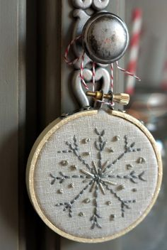 embroidery hoop ornament detail This would be pretty. When done, you could glitter the rim of the hoop.