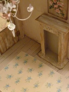 Dollhouse Shabby Chic Blue Roses Rug Scale by miniaturerosegarden, $14.00