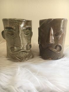 """Pottery Art Ugly Face pair One Eye Mustache Man Coffee Mugs Signed """"V A"""" Men Coffee, Coffee Mugs, Mustache Man, Face Mug, Ugly Faces, Pottery Art, Being Ugly, Candle Holders, Pairs"""