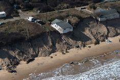 Aerial of Hemsby coast erosion - Norfolk UK