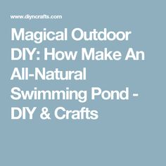 Magical Outdoor DIY: How Make An All-Natural Swimming Pond - DIY & Crafts