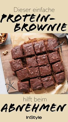 Ernährung: Diese Protein Brownies sind Diät-konform – und schmecken trotzdem super lecker Healthy eating and brownies – don't they go together? Not quite right: We have a recipe for diet-friendly protein brownies. Healthy Dessert Recipes, Low Carb Desserts, Healthy Desserts, Low Carb Recipes, Healthy Meals, Protein Brownies, Healthy Protein, Protein Foods, Protein Recipes
