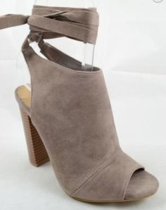 LOVE!! Must have for Fall! We are loving this open toe bootie with lace up ankle straps. Chunky block heel keeps these comfortable and the faux suede makes them a Fall Staple! This is a preorder! Item