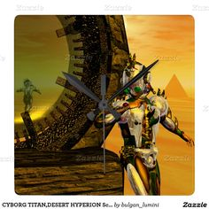 CYBORG TITAN,DESERT HYPERION Science Fiction Scifi Square Wall Clock