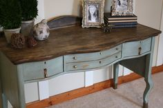 Willow Wisp Cottage: Golden Oak No More..... with Annie Sloan's robins egg blue chalk paint                                                                                                                                                                                 More
