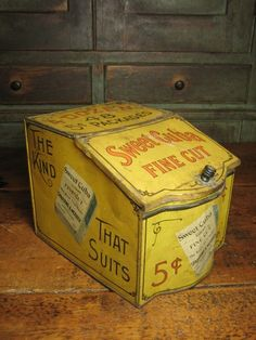 Wonderful Early Old 'Sweet Cuba' Tobacco Tin Litho Bin - General Store Advertising   $125