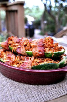 Use GF bacon! Bacon Wrapped Stuffed Zucchini  #FedandFit