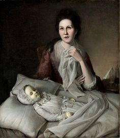 Rachel Weeping - Charles Willson PealeIn 1772, Rachel Peale asked her husband to paint a picture of their recently deceased infant. It was later enlarged to include Rachel herself and shown, discreetly behind a curtain, at the Philadelphia Museum.