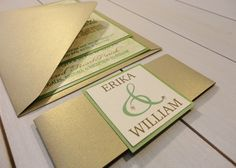 Green and gold, lace and pearls stacked wedding invitation