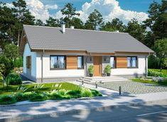 DOM.PL™ - Projekt domu ARP TRACJA 2 CE - DOM AP2-14 - gotowy koszt budowy Simple House Plans, Simple House Design, Modern House Design, Bungalow House Design, Modern Bungalow, Home Id, Home Design Plans, Facade House, Home Fashion