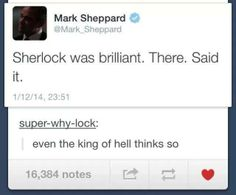 It's official, the King of Hell agrees. #Supernatural #Sherlock