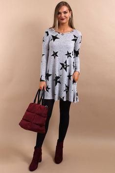 2afe98da7c25a9 Inga Grey Star Print Swing Tunic. Virgo Boutique Fashion
