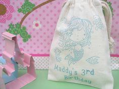 10 Personalized Mermaid Muslin BagsGreat for by jacqandjillybeans, $15.00