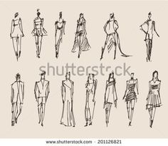 Similar Images, Stock Photos & Vectors of people sketch, vector Illustration, hand drawing - 200914967 Human Figure Sketches, Human Sketch, Human Drawing, Figure Sketching, Figure Drawing, Sketches Of People, Drawing People, Architecture Drawing Sketchbooks, Perspective Art