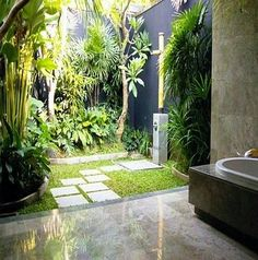 Outdoor Bathrooms And Indoor Gardens - Backyard Landscaping Indoor Outdoor Bathroom, Outdoor Baths, Outdoor Showers, Outdoor Spaces, Outdoor Living, Garden Shower, Garden Bathroom, Garden Tub, Tropical Bathroom