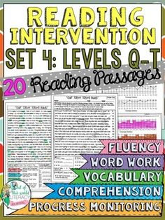 This set of 20 reading passages is part of a reading intervention program for big kids, including running records, progress monitoring, and so much more!  ($)