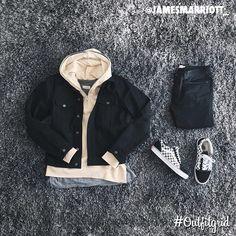 Today's top #outfitgrid is by @jamesmarriott_. ▫️#YSL #Jacket ▫️#NouvelleVou #Hoodie ▫️#FOG #Tee ▫️#Topman #Denim ▫️#Vans