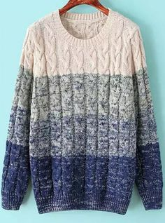 To find out about the Blue Ombre Long Sleeve Cable Knit Sweater at SHEIN, part of our latest Sweaters ready to shop online today! Cozy Sweaters, Cable Knit Sweaters, Winter Sweaters, Blue Sweaters, Fall Winter Outfits, Autumn Winter Fashion, Baggy, Latest Street Fashion, Blue Ombre