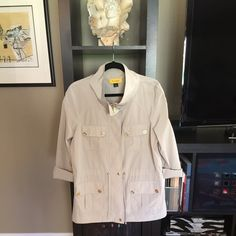 St John Fabulous all around jacket!  St John 100% polyester jacket with gold signature buttons, zipper pull and covered zipper placket  Ultimate touch of class  NWOT St John Jackets & Coats Trench Coats