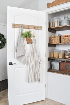 Create a beautiful farmhouse pantry makeover by adding DIY shiplap and stained wood shelves. This custom look can make any pantry stunning and functional. Toddler Closet Organization, Small Pantry Organization, Organization Hacks, Bathroom Organization, Pantry Ideas, Zen Furniture, Wooden Furniture, Pantry Makeover, Decoration