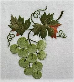 Grapes GreenHand Towel - Ivory In Stock – Henry Handwork Brazilian Embroidery Stitches, Hand Embroidery Stitches, Silk Ribbon Embroidery, Crewel Embroidery, Embroidery Patterns, Machine Embroidery, Embroidery Supplies, Green Hand Towels, Embroidered Quilts