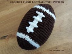Crochet Toys For Boys 10 Free Crochet Football Patterns: Stuffed Football Free Crochet Pattern - Show your love of football with these ten free crochet football patterns. There are hats, appliqués, cup cozies and more. Crochet Lovey, Crochet Pillow, Crochet Baby Hats, Crochet Gifts, Baby Blanket Crochet, Crochet Toys, Free Crochet, Crochet Animals, Knitting Toys