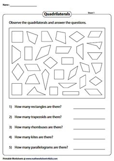 Recognize, Color and Count the Quadrilaterals Geometry Worksheets, Math Worksheets, Introduction To Geometry, Count, Teaching, Interior, Indoor, Education, Interiors