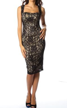 #Lace Overlay #Sweetheart Knee Length #Dress W/ Padded Cups