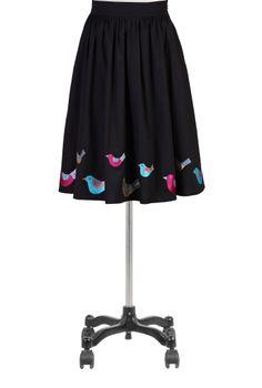 Bird Embellished Skirts, Full Cotton Poplin Skirts Women's designer fashion - Women's Skirts, Dress Skirts, Casual Skirts, Long Skirts - | e...