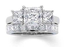 2.90ct 3-stone Princess cut diamond Engagement ring, center Princess cut diamond 2.00ct, I-SI1 GIA Certified, with 2 princess cut diamonds, 1 on each side 0.90ct, G-VS, set in 18kt white gold. Eternit