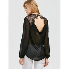 Lace Trim Open Back Curved Blouse Black (94 HRK) via Polyvore featuring tops i blouses