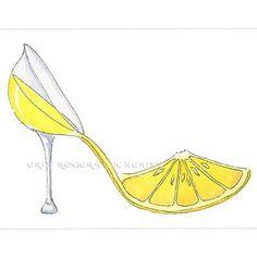 Lemoncello Shoe Art 5x7 print :: eringopaint Shop :: $17.00