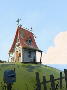3D thread House Illustration, Landscape Illustration, Landscape Art, Digital Illustration, Illustrations, Bg Design, Game Design, Cartoon Background, Art Background