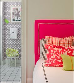 Love the headboard and the contrasting prints