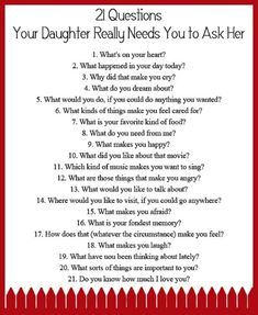 FREE Printable: 21 Questions Your Daughter Really Needs You to Ask Her - So how do you develop a close relationship with your daughter? How do you get to know her heart? FREE Printable: 21 Questions Your Daughter Needs You to Ask Her My Little Girl, Up Girl, My Baby Girl, Parenting Advice, Kids And Parenting, Single Parenting, Parenting Quotes, Foster Parenting, Natural Parenting