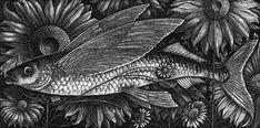 Flying Fish Flowers ~ Wood Engraving ~ Rosamund Fowler