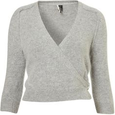 Knitted Fluffy Ballet Wrap (67 CAD) ❤ liked on Polyvore featuring tops, cardigans, sweaters, ballet, dance, women, gray cardigan, wrap top, marled cardigan and wrap style tops