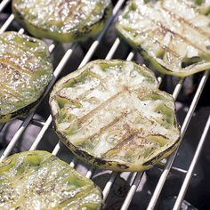 Grilled Green Tomato Focaccia Sandwiches: Grilled green tomatoes are better for your diet and your tastebuds — the smoke brings out the tart taste, balancing the salty flavor of the Canadian bacon
