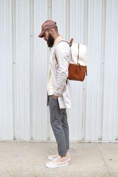 Jacket: coat, mens, menswear, men coat, beige, hipster menswear, bag, mens backpack, mens chino pants, mens cap - Wheretoget