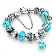 European Charm Bracelet Ocean Blue Rhinestone Quality Euro Beads Glass US Seller…