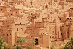 "Ait Benhaddou is an impressive fortified city made up of many ""kasbahs"". A kasbah is buildings made entirely from mud and straw. I have know idea how mud could stand as a beautiful city."