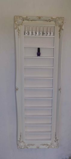 White Baroque Nail Polish Storage Cabinet with Gold Leaf space saving idea