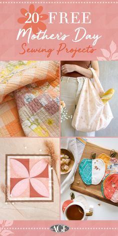 Mother's Day is almost here! Make them feel extra special this year with the perfect gift, and what's more thoughtful than a handmade one? Check out all the projects featured on our board that you can download with just a click of a button. With over 20 FREE sewing projects to choose from ranging in all sizes and skill levels, you'll surely find the most fitting gift for Mother's Day! Free Sewing, Sewing Tips, Sewing Hacks, Sewing Tutorials, Sewing Ideas, Sewing Projects, Quilting Ideas, Quilt Patterns, Sewing Patterns