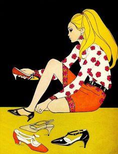 "illustration for Mademoiselle magazine "" 60s And 70s Fashion, Retro Fashion, Fashion Art, Vintage Fashion, Fashion Design, Sporty Fashion, Fashion Photo, Fashion Women, Fashion Illustration Vintage"