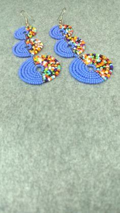 Handmade Red Green Bear  Pow Bead work Lariat Necklace Earrings Jewelry 2 Set