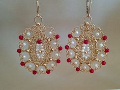 Statement Earrings Coral Pearls Wire Crochet by StavHoffmanJewelry, 140.00