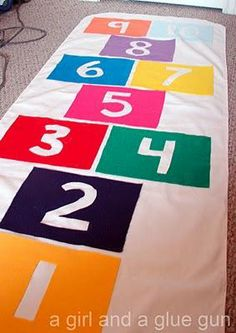 Need to get the wiggles out? This indoor hopscotch mat rolls up when you're done!
