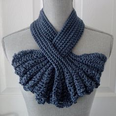 Keyhole Scarf, Blue Hand Crocheted Scarf, Neck Warmer Scarf, Winter Scarf, Blue Yarn Scarf, Ruffle Style Scarf, Gift for Her
