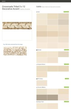 Crossroads Tribal 3 x 12 Decorative Accent. Fashion Accents. Glass metal and decorative accents. Daltile. Behr. Olympic. Benjamin Moore. PPG Paints. Sherwin Williams. Valspar Paint.  Click the gray Visit button to see the matching paint names.